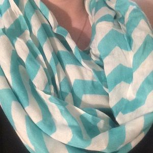 Accessories - Teal/White Monogrammed Chevron Infinity Scarf